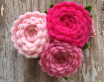 Pretty in Pink Wool Felt Flower Trio Hair Clip Babies Toddlers Girls