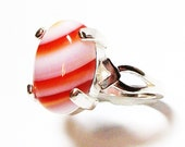 "Agate ring, peppermint agate ring,  red stripped ring, cabochon ring, red, white, s 6 1/2 ""Peppermint Stick"""