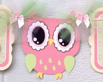Pink owl banner, owl baby shower banner, girl owl decor, its a girl banner, pink and green, table banner, bunting banner, owl party decor,