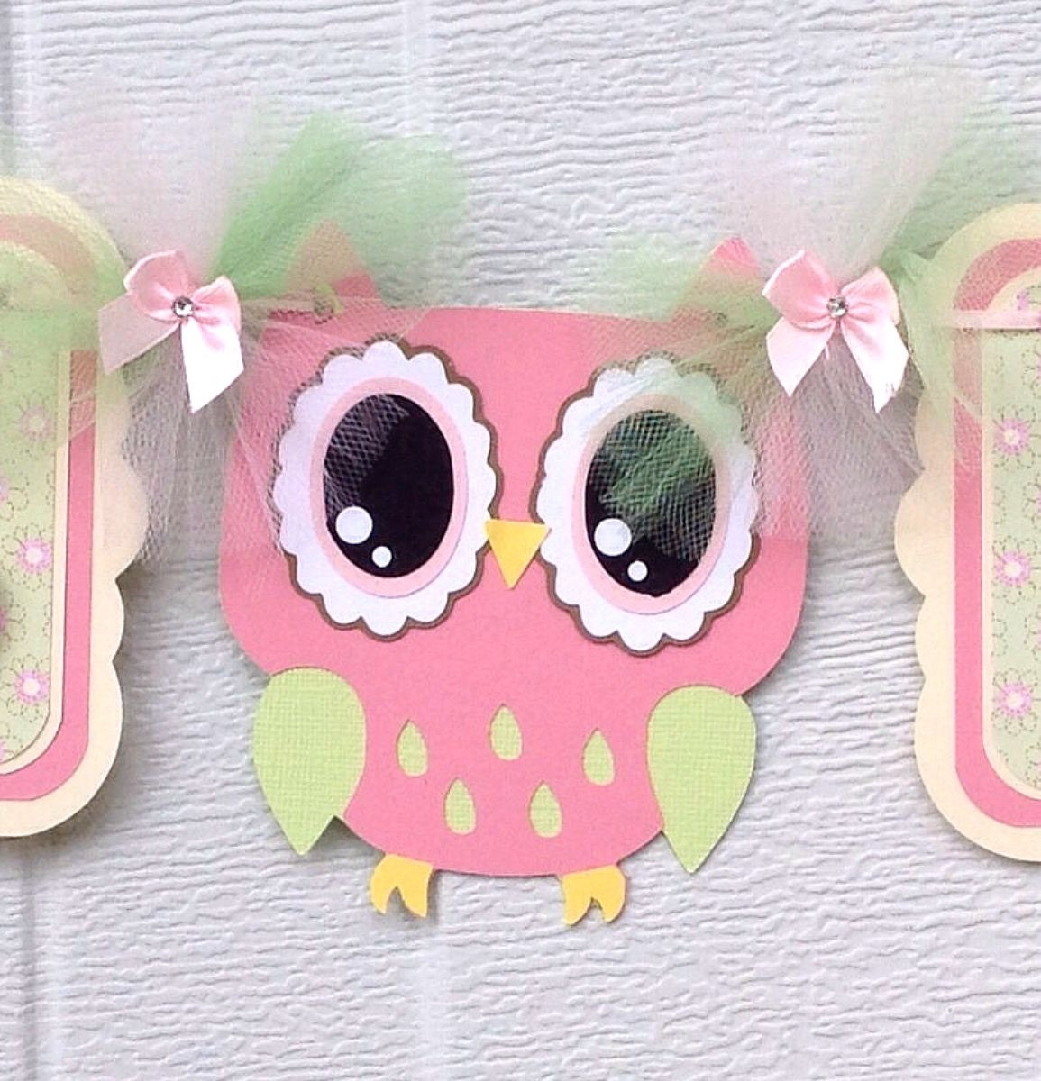 Pink owl banner owl baby shower banner girl owl decor its a - Girl owl decor ...