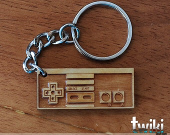 NES Controller wood keychain OR NES controller charm accessory - wood Nintendo controller keychain, wood Nintendo controller charm