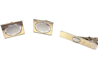 Gold Silver Cuff Links Foster Cufflinks Tie Tack Tie Tac Set