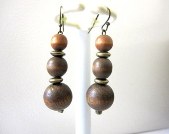 Wood dangle Earrings Brown