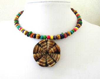 Abstract Modern Necklace Choker Wood Stone Multi Color Natural