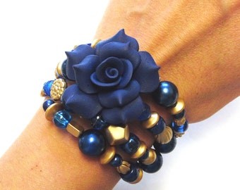 Day Of The Dead Bracelet Wrap Cuff Rose Blue Gold