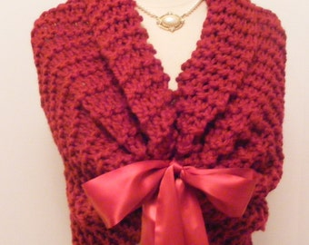 Winter Wedding/Red Wedding Shawl/Bridal Cape/Valentine Wedding/Bridal Bolero/Wedding Shawl/Hand Knit Shawl/Red Wrap/Wedding Cover Up/Shrug