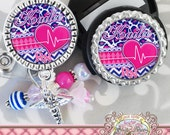 CARDIAC Nurse ID Badge Reel Stethoscope Tag Set, Chevron Leopard, ER, Medical Symbol, Cardiac, Heart, Rn Np, Id Clip, Medical, Student Nurse