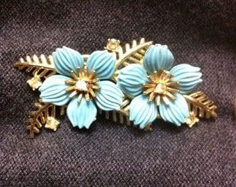 vintage blue Dogwood bloom brooch