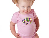 Infant One Piece Girl Baby Flower Buffalo Alison Kurek pink Bodysuit colorful mosaic flowers pretty