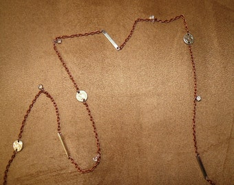 Copper chain with silver spacers and crystal charms 38""