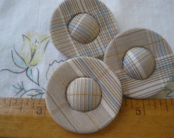 """38MM Plaid Halo Fabric Cover Buttons cloth covered shank 60L 1.5"""" pin shank quilt pillow upholstery home decor coat metallic"""