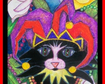 "New Orleans Art Print - ""Jester Jazz Cat"" Signed by Artist"