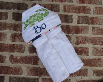 Hooded Appliqued Alligator Baby or Toddler Towel
