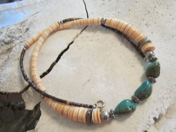 Turquoise Necklace Native American Jewelry Southwestern Jewelry Spiny Oyster Shell Necklace
