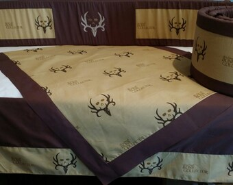 Baby bedding, crib set hunter ,camo **Exclusive and RARE**Bone Collector , deer skull 3 piece crib set****LIMITED Edition***boy bedding