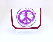 Peace Sign Bicycle Handlebar Bag With Purple and Maroon Accents