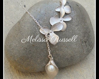 Matte SIlver Cascading Orchids with Pearl in Lily Lariat Necklace, handmade jewelry, holiday, Christmas gifts