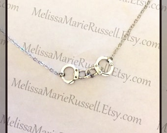 Handcuff silver necklace, 50 shades of grey, christian grey, anna steel, laters baby, freedom, love, anniversary, engagement, handmade jewel