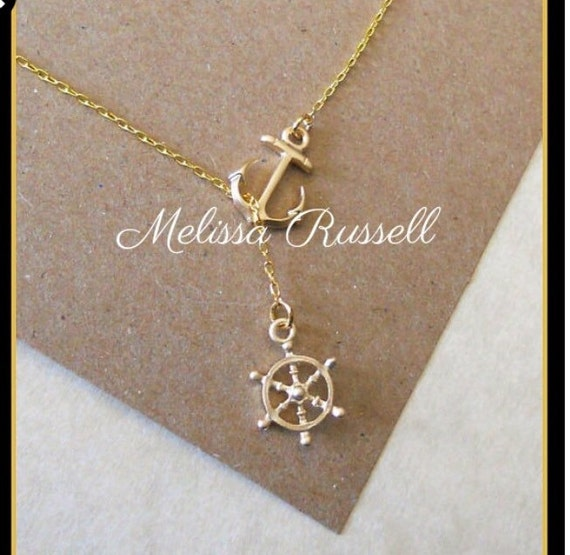 Gold Nautical Lariat Necklace with Anchor and Steering Wheel, love, anniversary, engagement, handmade jewelry