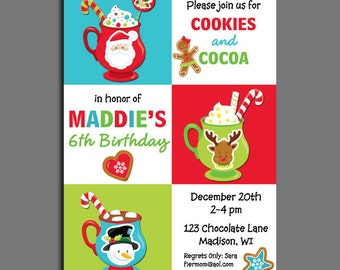 Christmas Hot Cocoa and Cookies Invitation Printable or Printed with FREE SHIPPING  - Birthday, Baby Shower, Cookie Decorating