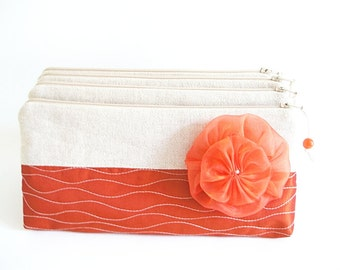 Wedding Clutches Rustic Red, Bridesmaids Bags Set of 5, Bachelorette Cosmetic Purses with Flowers