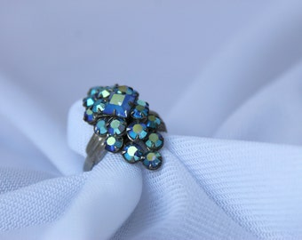 Aurora Borealis Ring Vintage Purple and Blue FREE USA SHIPPING
