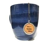 "Tea Infuser - Bottle Cap Charm - tea plus books - 2"" Mesh Ball - Tea Ball - Tea Strainer"