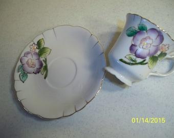 Vintage Teacup and Saucer with Purple Violet Flower