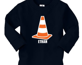 Personalized Traffic Cone Shirt - Any name - LONG SLEEVES - pick your colors!