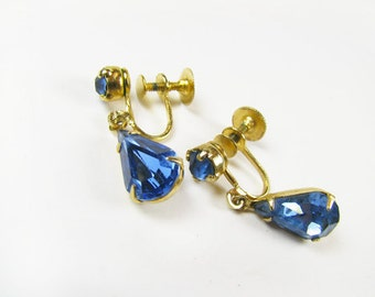 Vintage Sapphire Blue Rhinestone Earrings, Coro, Bridal / Vintage Wedding Earrings - Boucles d'Oreilles.