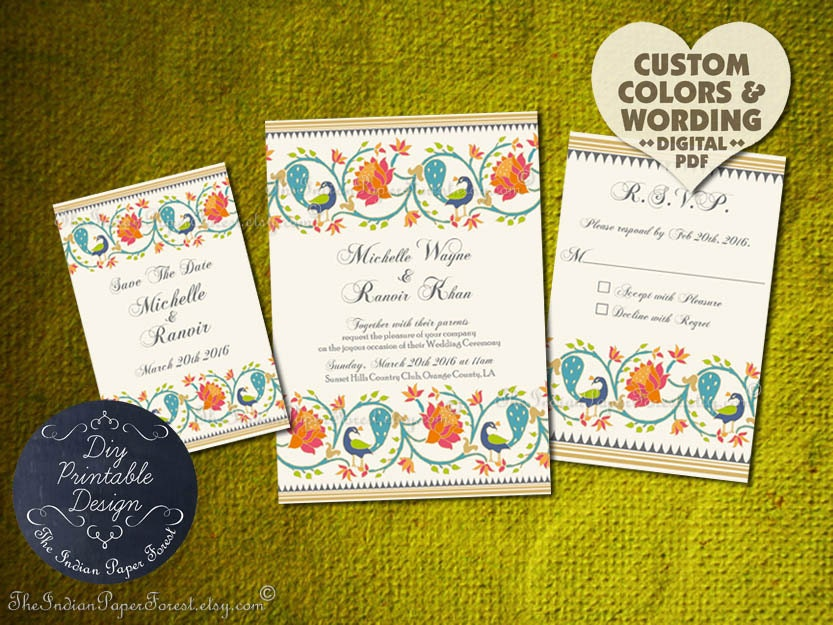Indian Wedding Invitation Set DIY PRINTABLE Lotus