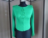 Green blouse, green blouson, zippered blouse, jersey and chiffon blouse, slit sleeves blouse
