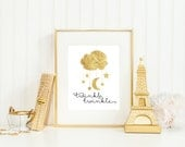 Twinkle Twinkle Faux Gold Foil Print - Nursery Wall Art - Includes 5x7 & 8x10 Files - Print At Home