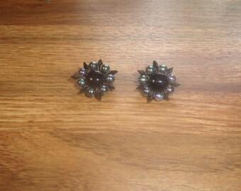 vintage clip on earrings bead clusters