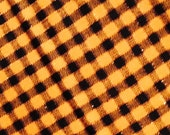 Halloween Fabric, Black and Orange, Plaid Fabric,  Metallic Thread, Small Checks,  By the Yard
