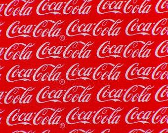 Coca Cola Fabric / Coca Cola Logos / Coca Cola /  White Logos / Red Background / By the yard