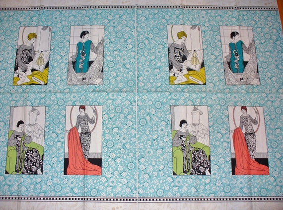Vintage Sewing Fabric /  Amy Barickman Panel Fabric  /  Vintage Style 1920's Ladies / Dressmaking & Sewing Fabric