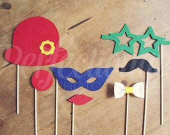 Felt Carnival Photo-booth Props | Masquerade Mask | Carnival Props | Circus Props