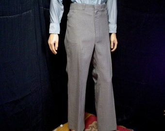 """70s 39"""" x 30"""" Wool Hopsack Mens Flares Bell Bottom PANTS Disco Day's Cement Gray"""