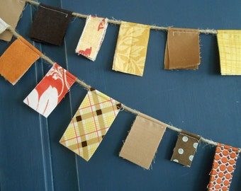 Autumn Scrappy Banner/ Thanksgiving Banner / Fall Party Garland / Photo Prop in Brown, Yellow, Orange Red