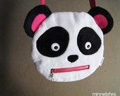 Panda Purse by MinneBites / Handmade Plush Panda Bear Cross Body Purse - Unique Girls Gift - Pink Cute Animal Purse - Ready to Ship