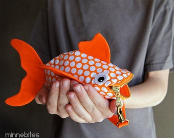 Goldfish Pouch - Childrens Purse Wristlet - Orange Coin Purse - Boys Small Zipper Bag - Preschool Gift - Toddler Treat Bag - Ready to Ship