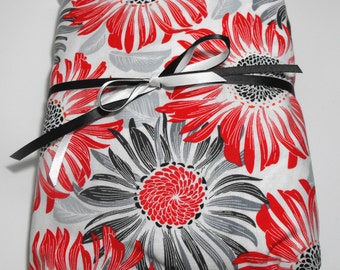 Fitted Sheet for Baby or Toddler Red and Black Flowers Fitted Crib Sheet