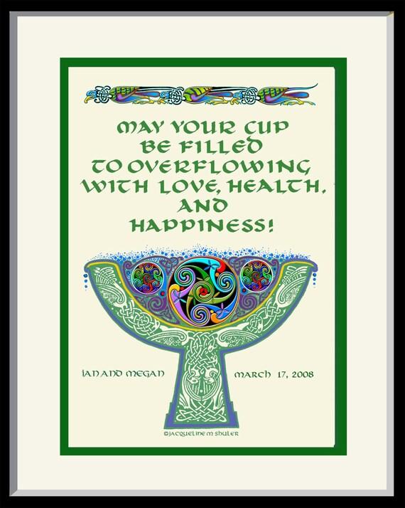 Engraved Wedding Gifts Ireland : Personalized Wedding Gift Irish Celtic Goblet Wedding Blessing, with ...