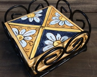 Majolica coaster tiles set