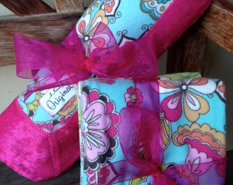Baby Girl Stroller Blanket with 3 Burp Cloths - Bohemian Floral - Pink - Blue - Green - Save 10% - Use Coupon Code SUMMER10