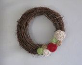 "Grapevine Wreath - 14"" - Red, White, Green & Natural Burlap Flowers"