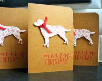 Handmade Christmas Cards Set of 4, Dog Holiday Cards, Labrador Cards, Christmas Greeting Cards, Merry Christmas Cards