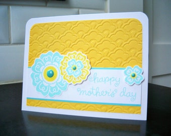 Stamped Mother's Day Card, Mothering Sunday Card, Happy Mother's Day Greeting Card, Mother's Day Gift, Floral Card for Mom