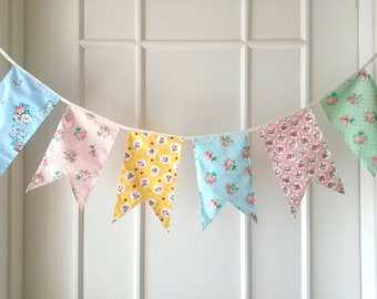 Shabby Chic Fabric Banners, Bunting, Garland, Wedding Bunting,  Flags - 5 ft